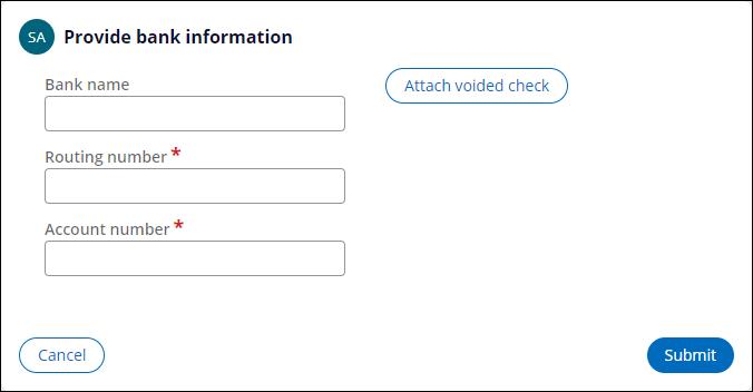Provide bank information