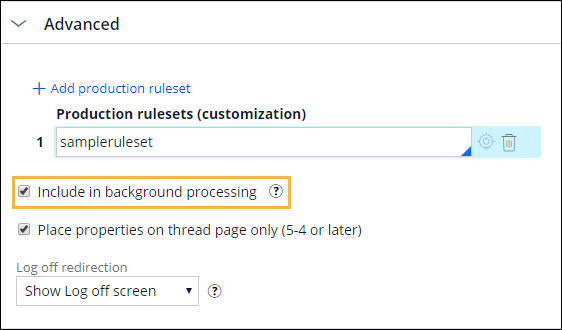 Include in background processing check box