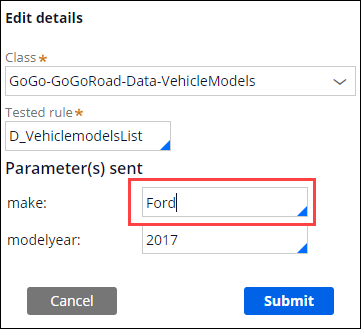 Changing the value of the make parameter from Tesla to Ford.