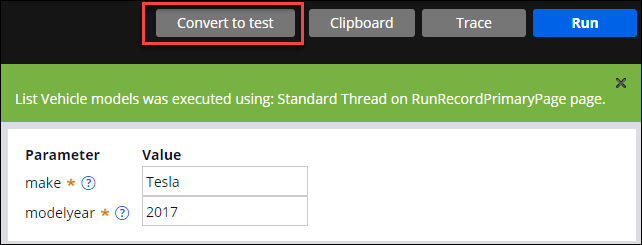 The Convert to test button, which creates a test case from a successful unit test result.
