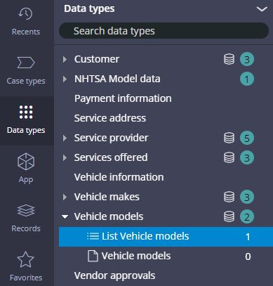 The Data types explorer, with the Vehicle models data type expanded and the List Vehicle models data page selected.