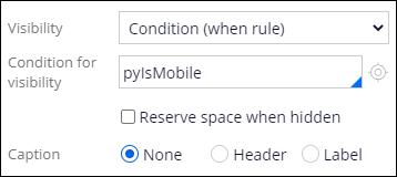visibility condition pyIsMobile