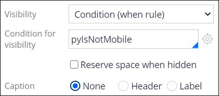 Visibility condition pyIsNotMobile