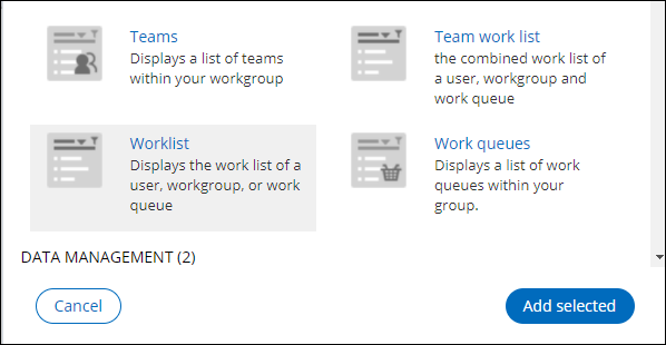 The Add widgets to slot dialog, with the Worklist widget selected.