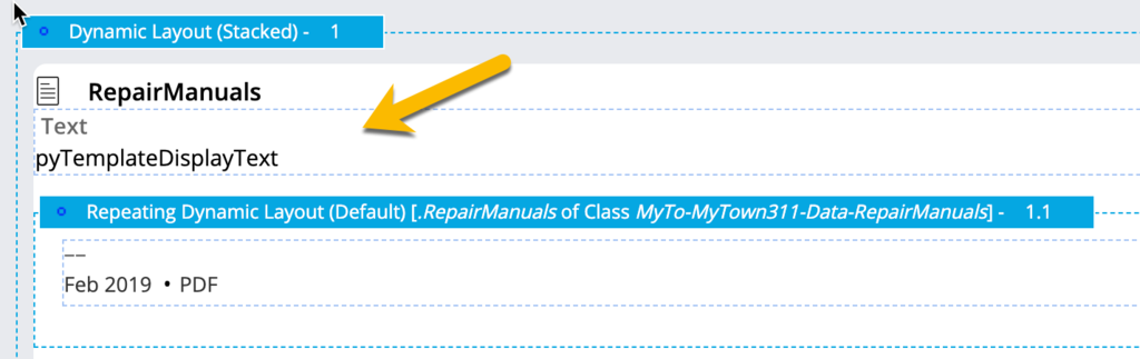 Drop a text control just before the repeating dynamic layout