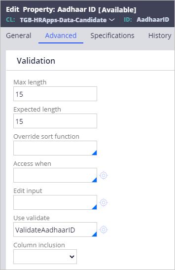 The Advanced tab of the Aadhaar ID property, configured to call the edit validate rule ValidateAadhaarID.