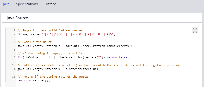 Java code for validating the format of an entered Aadhaar ID.