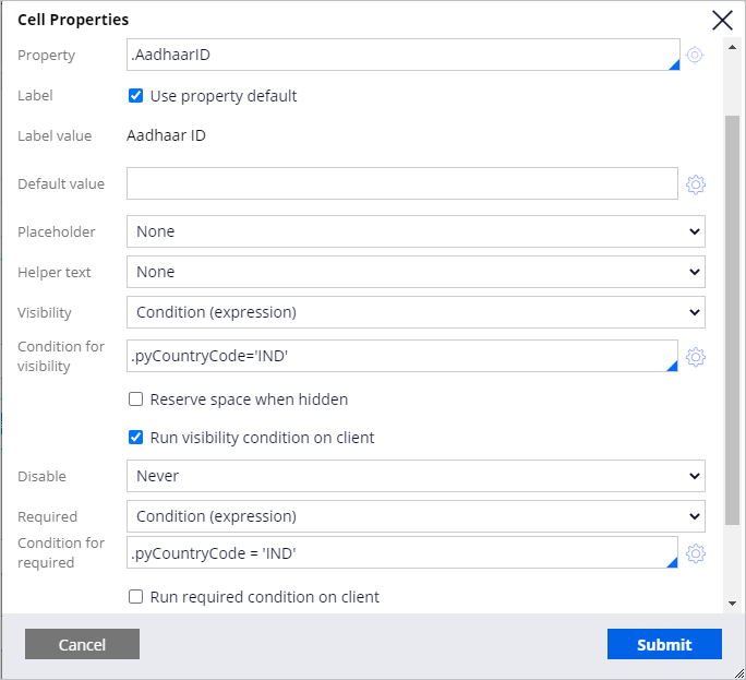 Aadhaar ID field cell properties panel configured to support visibility and entry requirements.