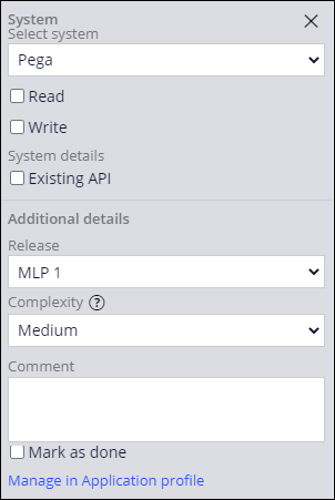 Configuration pane for the Pega SOR with Configure release icon highlighted