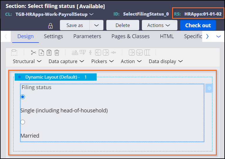 Select filing status section HRApps
