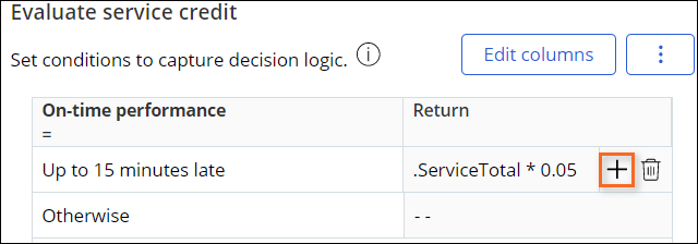 Add row to decision table