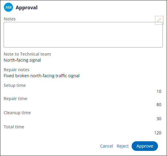 Approval view at runtime