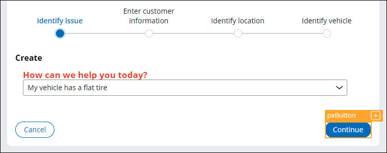 continue button on the Identify issue step