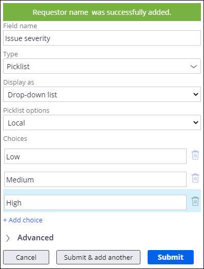 Adding the Issue severity picklist field to the Report problem view