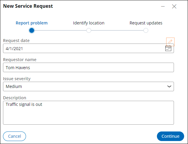 Report problem view at runtime