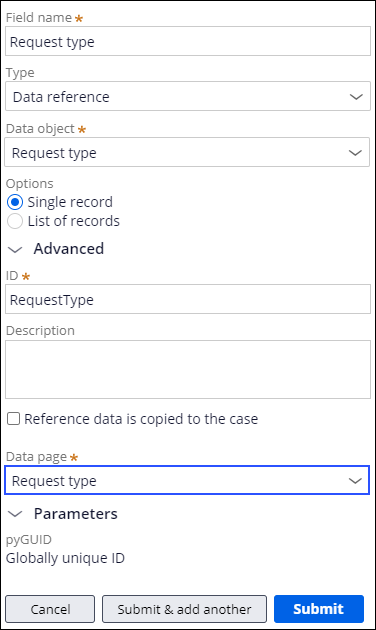Request type field with Request type data page selected