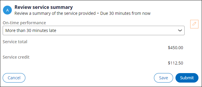 Review service summary view with More than 30 minutes late selected