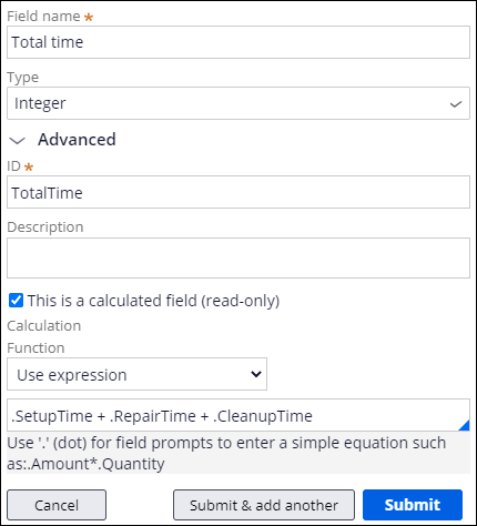 Total time calculated field