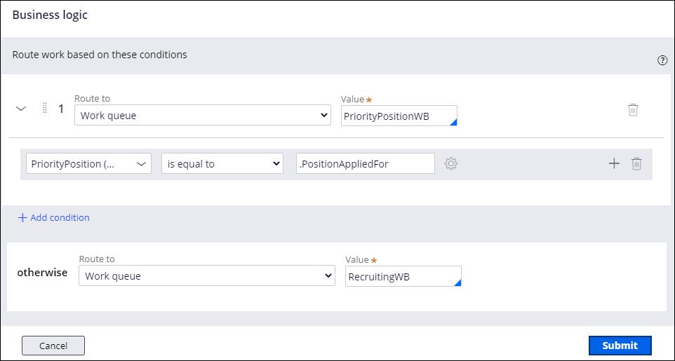 Routing Business Logic Condition Builder