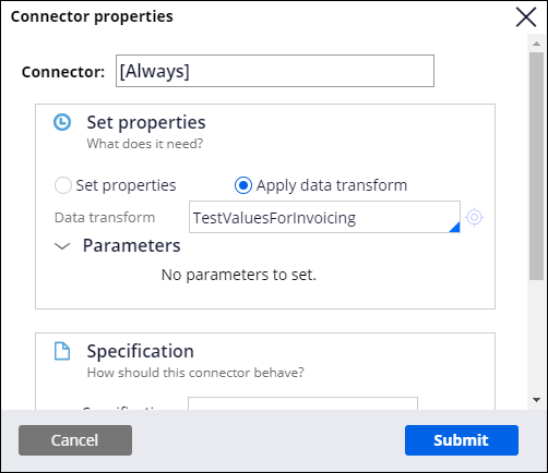 Connector properties with test values for invoicing data transform applied