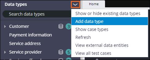 Create new data type pane