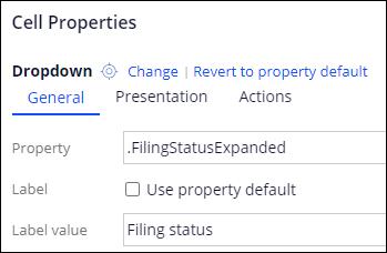 Filing status field configured as drop-down