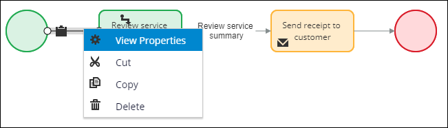 View properties in the first connector of the Invoice Customer flow rule