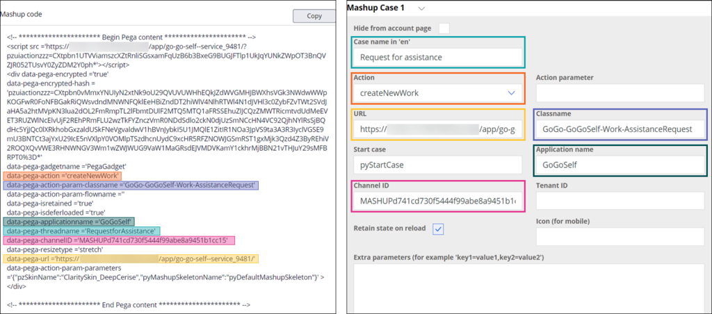 using mashup parameters in the uplus form