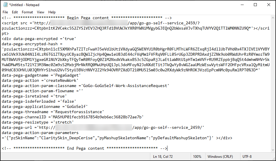 mashup code on text file