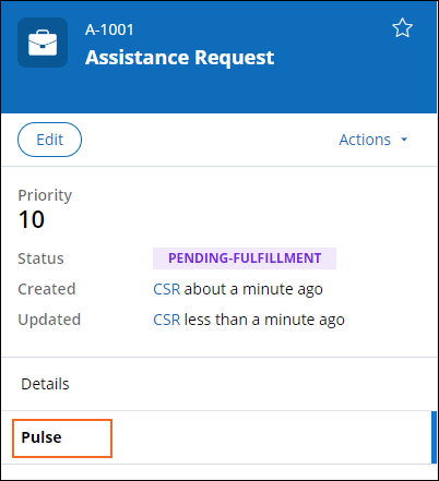 The Pulse tab selected in the summary pane of case