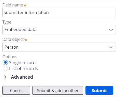 Submitter information data object creation