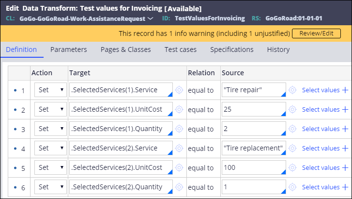Test values for invoicing data transform