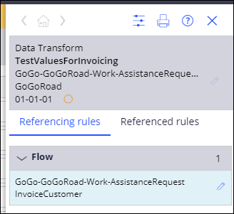 Data transform testvaluesforinvoicing referencing rules