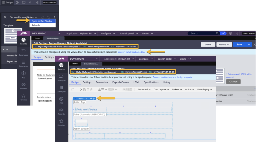 Developer must use Dev Studio to render a table or repeating dynamic layout