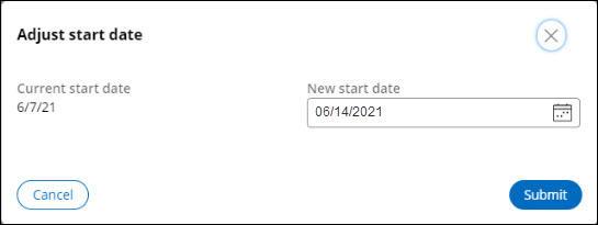 Adjust start date screenshot