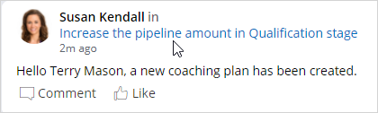 New pulse message for coaching plan for sales representative