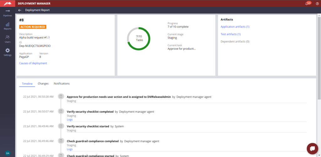 Image depicts the Report information about Review Deployment for Approval