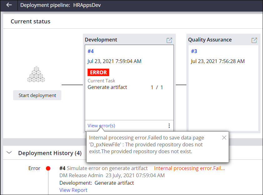 Image depicts on the pipeline dashboard, in theDevelopment stage, clicking View Error(s) displays the errors that caused the deployment tofail. You can review the errors from this screen.to review them .