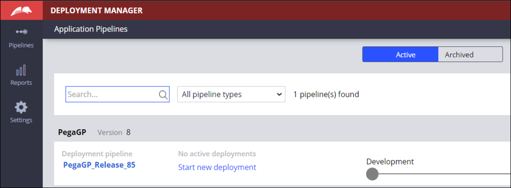 Image depicts the application pipeline screen for Nichole where only one deployment pipeline displays.