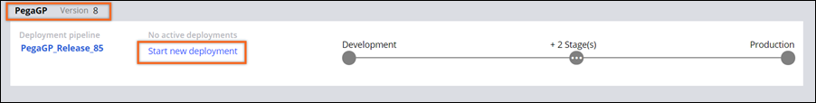 Image depicts the deployment pipeline that is available for the user on the Deployment Manager portal.