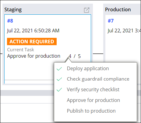 image depicts the Staging environment where you can see that the deployment has completed the first three tasks successfully.The fourth task,Approval for production, is pending approval from the PegaGP Release Manager.