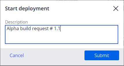 Image depicts the Description textbox to enter a description for the deployment.